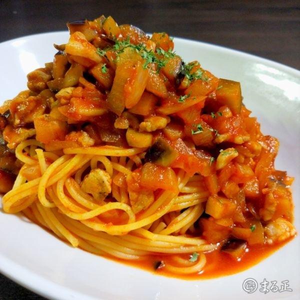 野菜と豚肉のトマトジュースパスタ