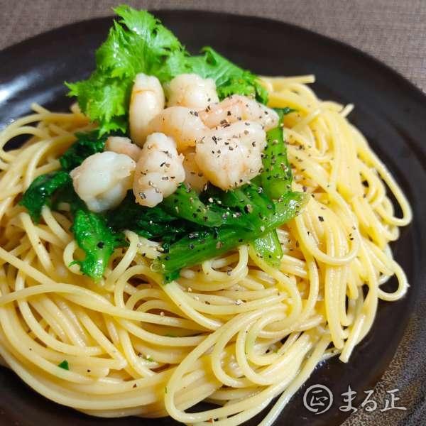 海老とわさび菜の和風パスタ