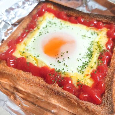 目玉焼きトースト(黄身は硬めに!)